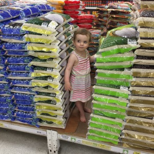 Maddy in a rice fort at Big C July 16