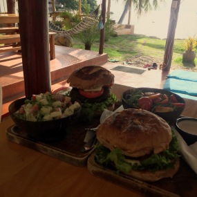 Vegan burgers at Orion Srithanu Aug 16