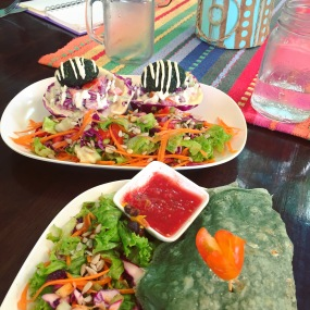 Vegan lunch at Karma Kafe Srithanu Aug 16